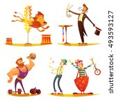 traveling circus retro cartoon... | Shutterstock .eps vector #493593127