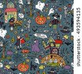 happy halloween. vector... | Shutterstock .eps vector #493594135