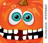 pumpkin smiling orange with... | Shutterstock . vector #493596865