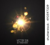 vector realistic sun on... | Shutterstock .eps vector #493597339