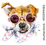 Cute Dog Watercolor Illustration