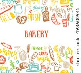bakery banner on pattern with... | Shutterstock . vector #493600945