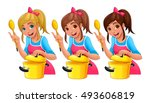 girl with spoon is cooking.... | Shutterstock .eps vector #493606819