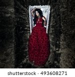 young beautiful witch in open... | Shutterstock . vector #493608271
