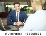 portrait of investment advisor... | Shutterstock . vector #493608811