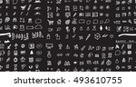 hand drawn seamless doodle... | Shutterstock .eps vector #493610755
