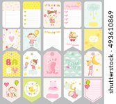 cute girl tags. baby banners.... | Shutterstock .eps vector #493610869