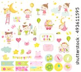 cute girl scrapbook set. vector ... | Shutterstock .eps vector #493611595