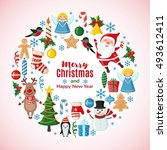 christmas and new year card... | Shutterstock .eps vector #493612411