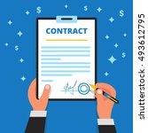 businessman hands holding pen ...   Shutterstock .eps vector #493612795