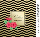 tropical hibiscus flowers.... | Shutterstock .eps vector #493613035