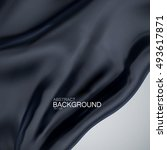 black silk fabric. vector... | Shutterstock .eps vector #493617871