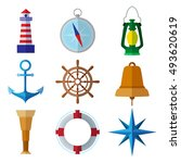 set of simple nautical flat... | Shutterstock .eps vector #493620619