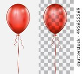 Realistic Red Balloon Isolated...