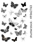 Set Of Black Butterflies