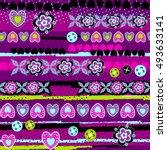 vector seamless geometric cute... | Shutterstock .eps vector #493633141