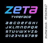 italic square font. vector... | Shutterstock .eps vector #493634617