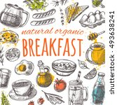 breakfast card with elements of ... | Shutterstock .eps vector #493638241