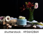 birthday cake table on black... | Shutterstock . vector #493642864