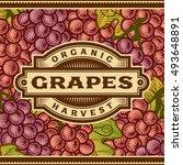retro grapes harvest label | Shutterstock . vector #493648891