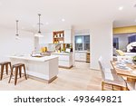 house interior with white walls ... | Shutterstock . vector #493649821