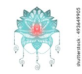 flower lotus. magic symbol for... | Shutterstock .eps vector #493649905