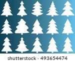 christmas tree vector icon set... | Shutterstock .eps vector #493654474