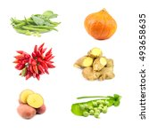 mix of fresh raw vegetables on... | Shutterstock . vector #493658635
