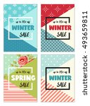 cute set of winter and spring... | Shutterstock . vector #493659811