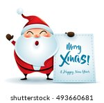 santa claus with message board | Shutterstock .eps vector #493660681