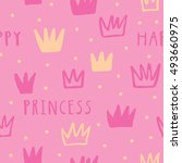 happy princess vector seamless... | Shutterstock .eps vector #493660975