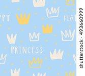 happy princess vector seamless... | Shutterstock .eps vector #493660999