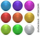 color balls vector set isolated ... | Shutterstock .eps vector #493661644