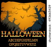 halloween fantasy gold style... | Shutterstock .eps vector #493665439