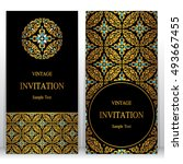 wedding invitation or card with ... | Shutterstock .eps vector #493667455