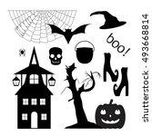 halloween set of silhouettes ... | Shutterstock .eps vector #493668814