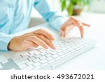 female hands or woman office... | Shutterstock . vector #493672021