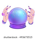 magic crystal ball with female... | Shutterstock .eps vector #493673515