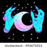 turquoise female alien hands... | Shutterstock .eps vector #493673521