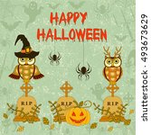 halloween pattern with pumpkin... | Shutterstock .eps vector #493673629