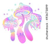 magic mushrooms.  psychedelic... | Shutterstock .eps vector #493673899