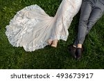 wedding. bridal dress and groom ... | Shutterstock . vector #493673917