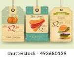 Fast Food   Set Of Tags With...