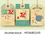 coffee time   set of tags with... | Shutterstock .eps vector #493680145