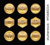 golden labels on black... | Shutterstock .eps vector #493680214