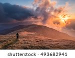 hiker in mountains at... | Shutterstock . vector #493682941