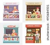 set vector flat illustration.... | Shutterstock .eps vector #493684501