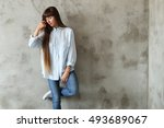 lifestyle. lovely girl at home | Shutterstock . vector #493689067