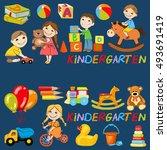 vector kindergarten pattern...   Shutterstock .eps vector #493691419
