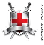 shield with crossed swords | Shutterstock .eps vector #493693279